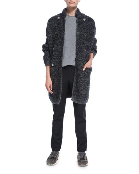 Long Fuzzy Knit Sweater Jacket