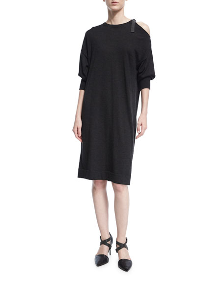 Cold-Shoulder Cashmere-Blend Sweaterdress