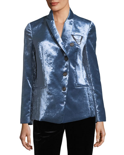 Asymmetric Button-Front Velvet Jacket