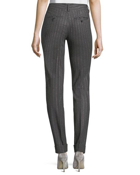 Straight-Leg Pinstriped Pants