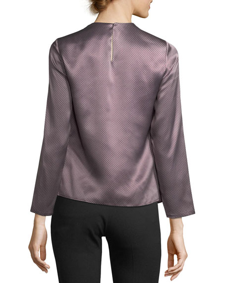 Shiny Silk Jacquard Blouse