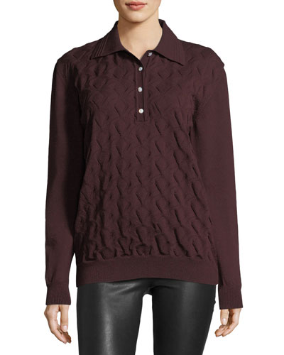 Cable-Knit Long-Sleeve Polo Sweater