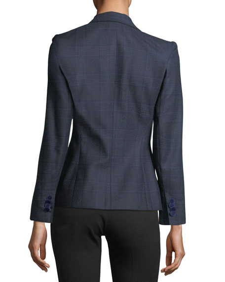 Prince of Wales Wool One-Button Jacket
