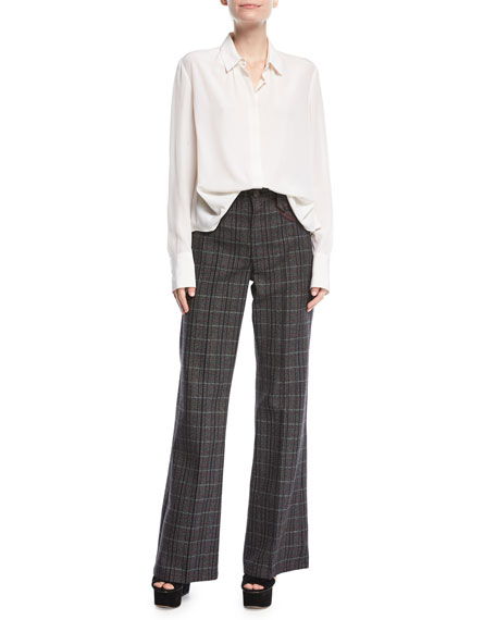 Wide-Leg Plaid Pants w/ Leather-Trim Pockets