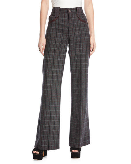 Wide-Leg Plaid Pants w/ Leather-Trim Pockets