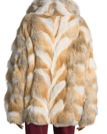 Zip-Front Coyote Fur Coat