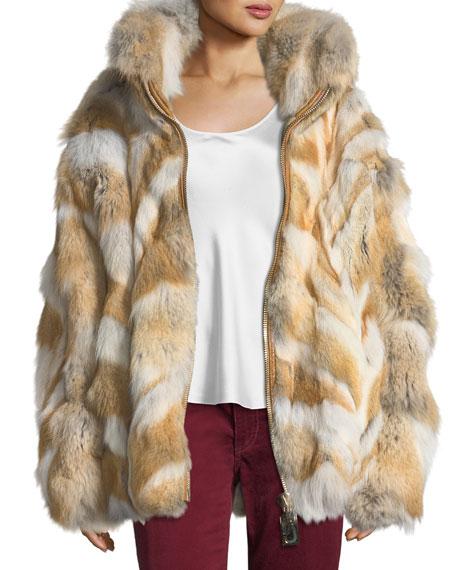 Zip-Front Coyote Fur Coat