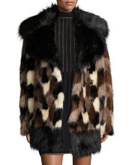 Patchwork Faux Fur Coat