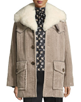 Corduroy Coat with Fur Collar