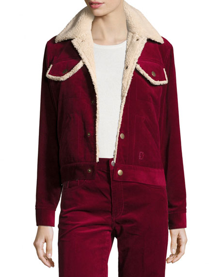 Cropped Corduroy Jacket with Faux-Fur Lining