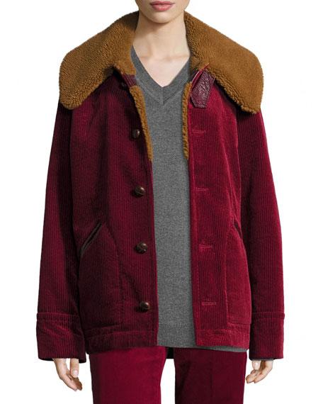 Sherpa-Collar Corduroy Jacket