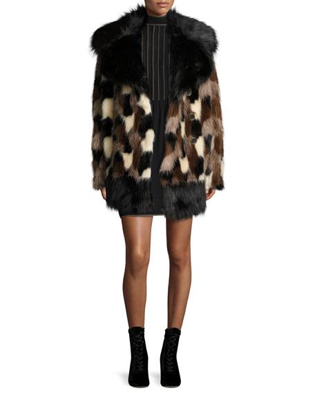 Mesh-Front Bishop-Sleeve Dress