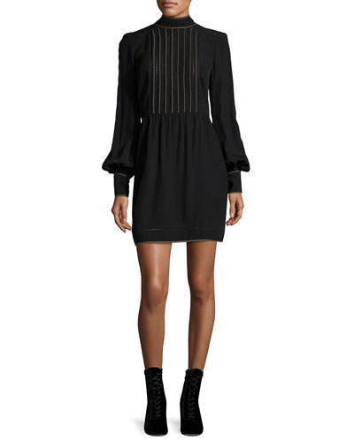 Mesh-Front Bishop-Sleeve Dress