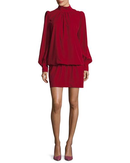 Velvet Mock-Neck Blouson Dress