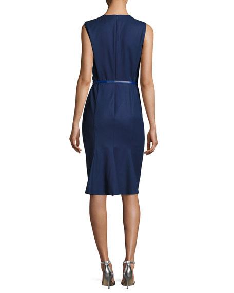 Sleeveless Jewel-Neck Sheath Dress