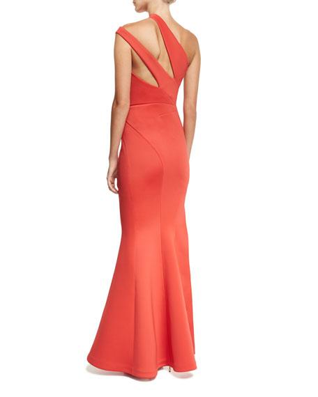 Scuba Knit One-Shoulder Gown
