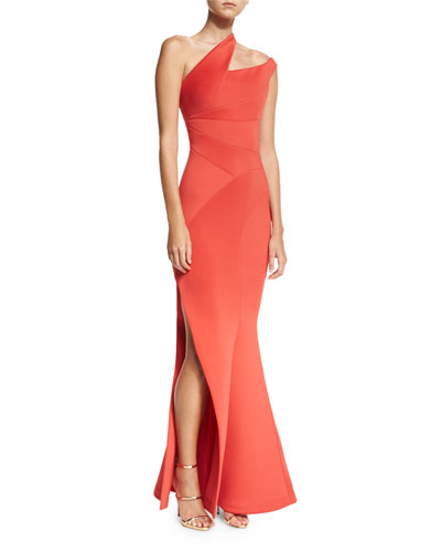 Scuba Knit One-Shoulder Gown