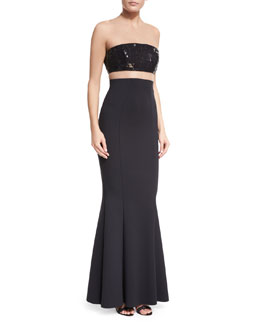 Sequined Bandeau Illusion Gown w/Crepe Mermaid Skirt