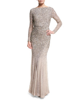 Long-Sleeve Sequined Gown