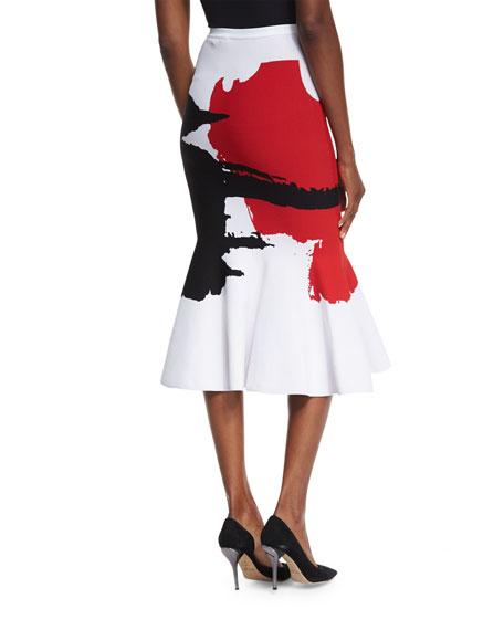 Graffiti Knit Flare-Hem Skirt
