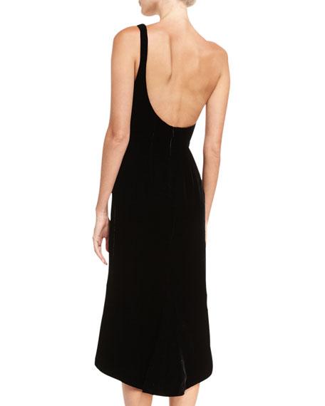 Velvet One-Shoulder Cocktail Dress