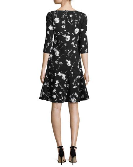 3/4-Sleeve Poppy-Print Day Dress