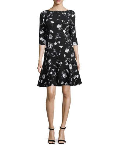 3/4-Sleeve Poppy-Print Day Dress
