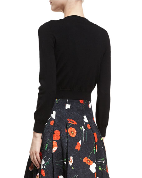 Poppy-Embroidered Cropped Virgin Wool Cardigan