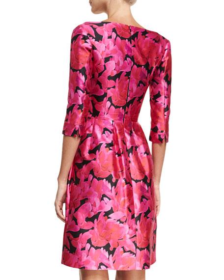 Split-Neck Floral-Print Faille Cocktail Dress