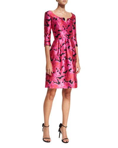 Split-Neck Floral-Print Faille Cocktail Dress