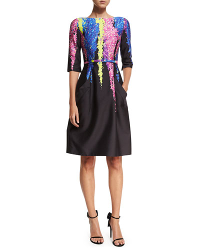 Degradé Floral 3/4-Sleeve Dress