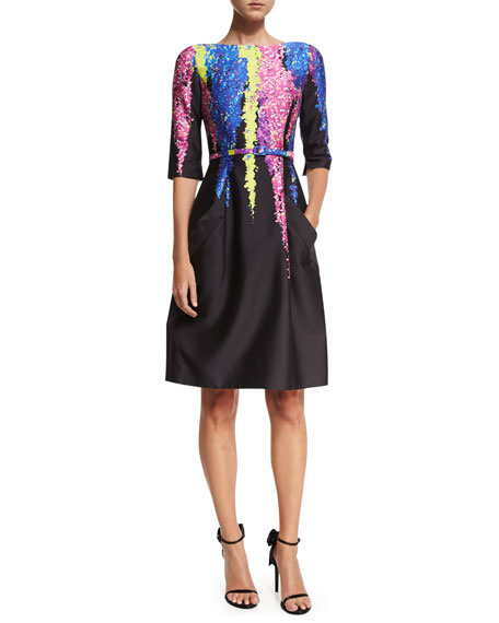 Oscar de la Renta Degradé Floral 3/4-Sleeve Dress