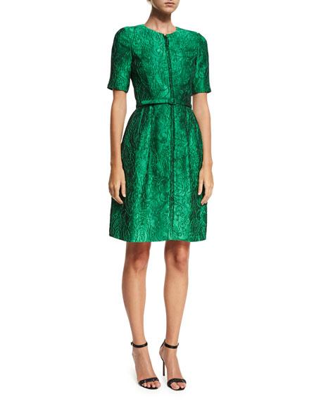 Short-Sleeve Zip-Front Jacquard Dress