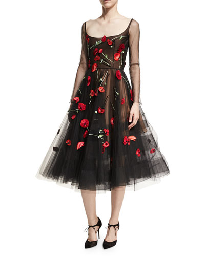 Poppy-Embroidered Tulle Cocktail Dress