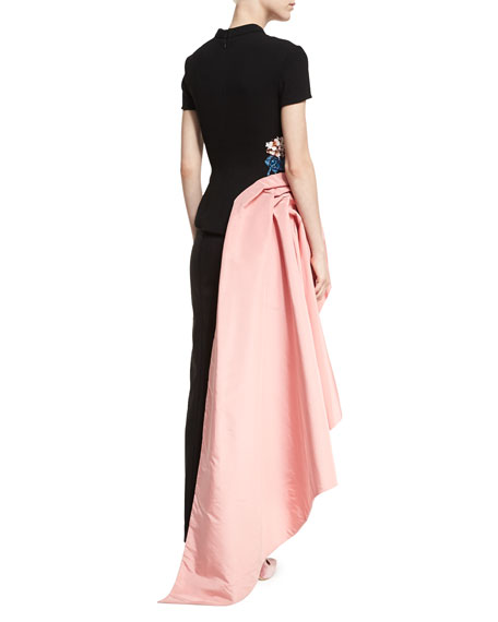 Embroidered Short-Sleeve Top w/Draped Sash
