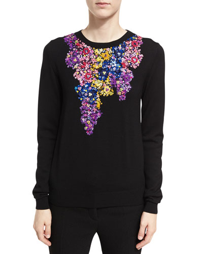 Floral-Embroidered Crewneck Sweater