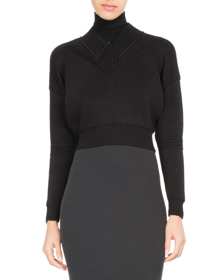 Cropped Rib-Knit Turtleneck Sweater