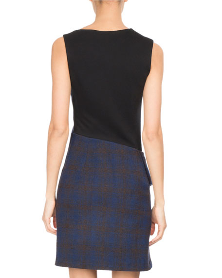 Sleeveless Plaid Jersey Wool Cocktail Dress