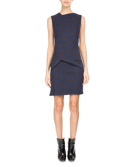 Sleeveless Plaid Jersey Wool Cocktail Dress
