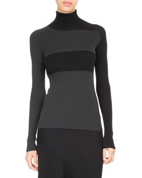Ribbed Colorblock Turtleneck Top