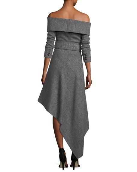 Off-Shoulder Herringbone Midi Dress
