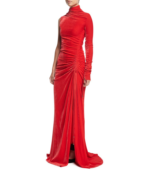 Ruched High-Neck One-Sleeve Velvet Gown