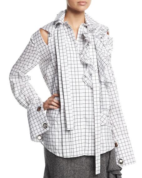 Oversized Grid-Print Cold-Shoulder Blouse