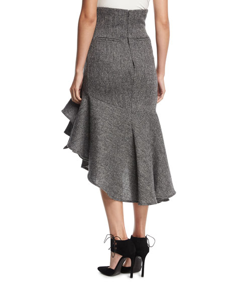 Ruffled Herringbone Midi Skirt