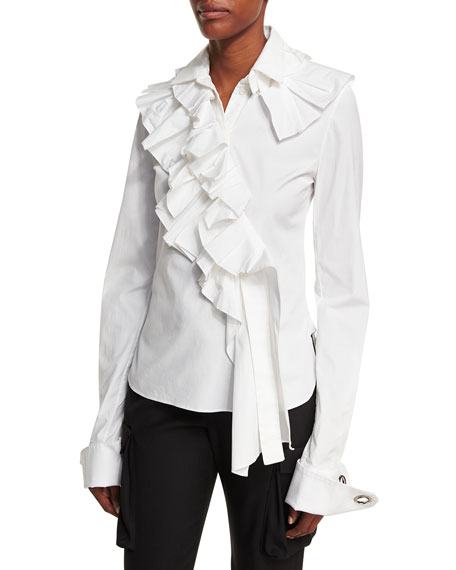 Asymmetric Ruffle-Trim Blouse