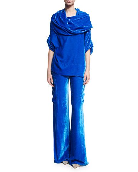 Wide-Leg Velvet Cargo Pants