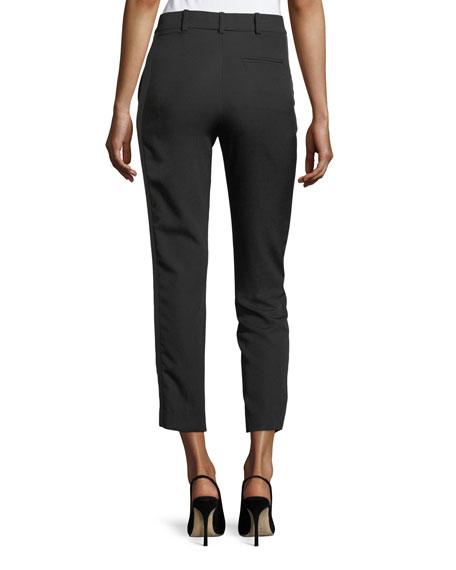 Cropped Satin-Stripe Straight-Leg Pants