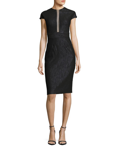Sheer-Panel Cap-Sleeve Cocktail Dress