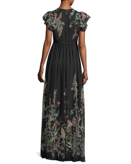 Floral-Print Georgette V-Neck Gown