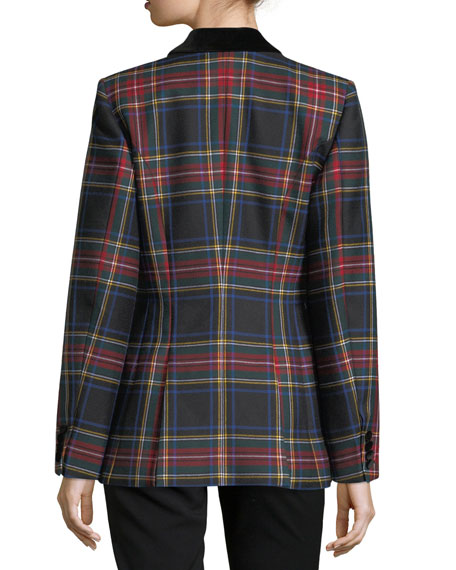 Oxford Tartan Plaid Double-Breasted Jacket